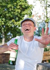 Laughing drunkard