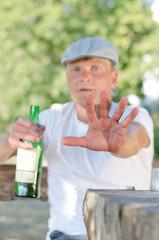 Man giving the Stop or Halt gesture