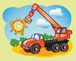Fun truck-crane and the sun
