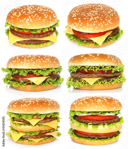 Big hamburgers on white background .