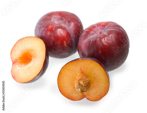 Plums on white background