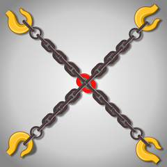 Vector illustration of chains - weak or strong link concept