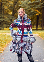 girl in a knitted coat