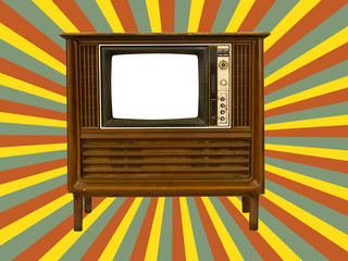 Old television and retro  sun rays
