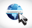 e commerce globe and cursor illustration