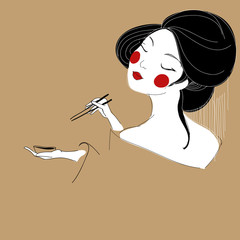 Vector illustration of beautiful Asian girl with sushi