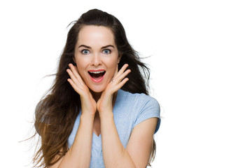 Happy surprised young woman