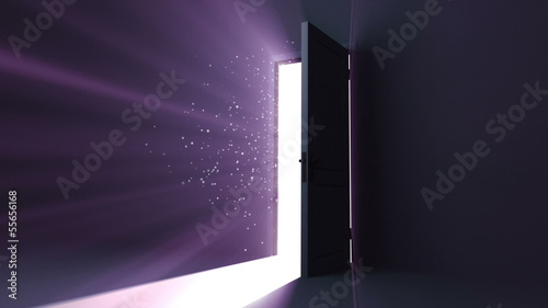 Door opening to a heaven light. Flares flying. HD 1080.
