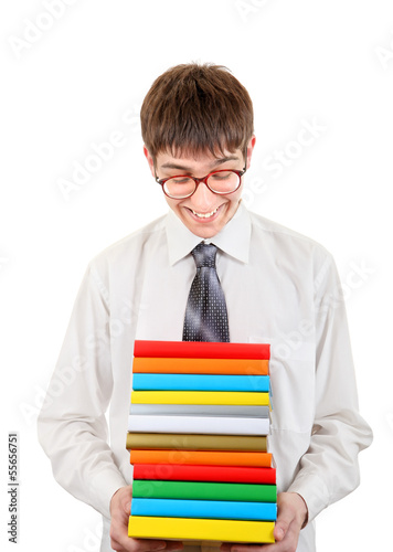 Happy Student holding Pile of the Books