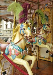 A horse at a merry-go-round