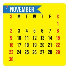 November 2014 calendar,  vector format