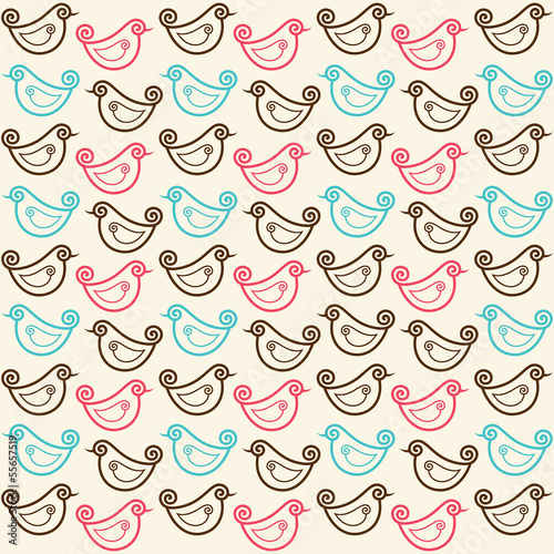 seamless pattern with funny birds stock vector