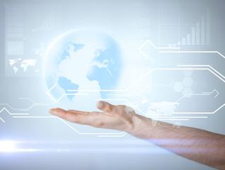 hand holding virtual sphere globe