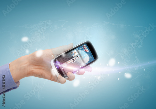 hand showing smartphone with news app