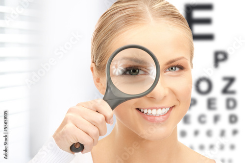 woman with magnifier and eye chart