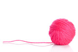 Pink Yarn Ball  on white background