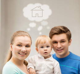 family with child dreaming about house