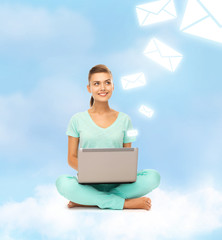 woman sitting on the cloud with laptop