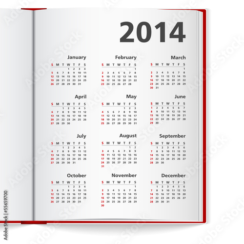 2014 Calendar in notebook