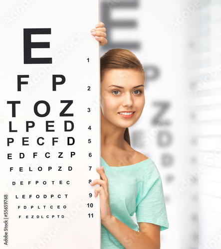woman in eyeglasses with eye chart
