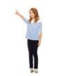 girl pointing at imaginary screen