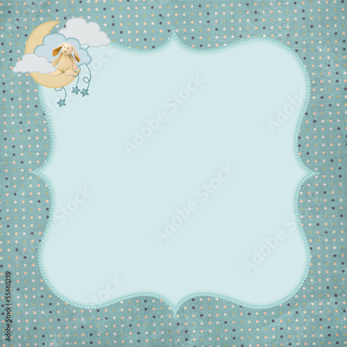 bunny on moon with polka dot frame