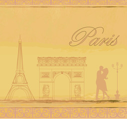 couple in love in Paris - vintage card