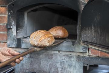 Brot aus Steinbackofen nehmen