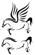 speeding horses vector outline