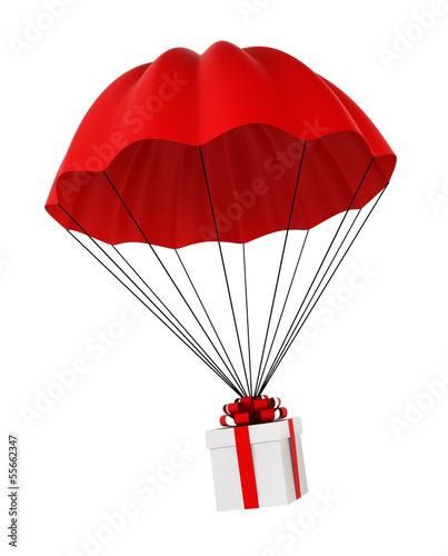Parachute with a gift box
