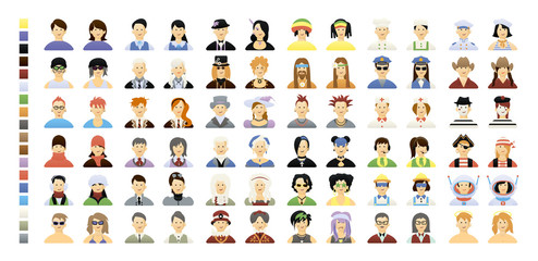 vector color big set avatar people