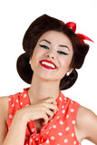 Smiling pin up brunette woman