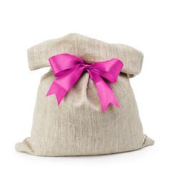 sack gift bag with ribbon bow