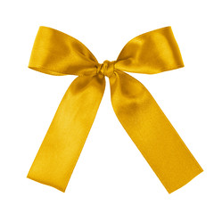 yellow festive tied bow made from ribbon