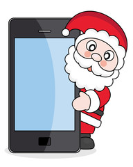 Christmas card.Santa Claus with mobile phone
