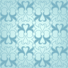 Blue seamless pattern with floral ornaments