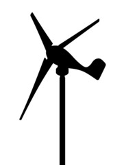 Windmill, vector silhouette on a white background