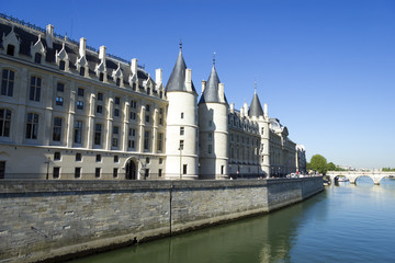 Castle Conciergerie  and bridge over Seine, Paris, France