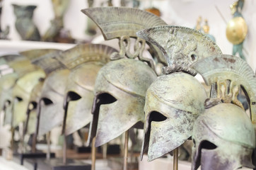 souvenir ancient bronze knight helmets