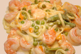 Close Up of Creamy Shrimp and Pasta