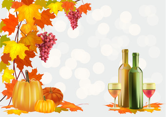 Autumn , postcard .Ripe grapes, wine glass and bottle wine .