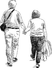 elderly couple at walk