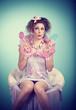 Mädchen im Retrostil mit Lollies / candy 10_1