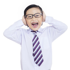 Business boy screaming on white background