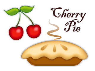 Cherry Pie, ripe fruit, fresh baked sweet dessert treat isolated