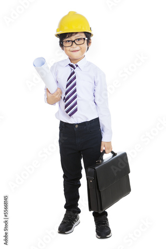 Little architect holding bag - isolated