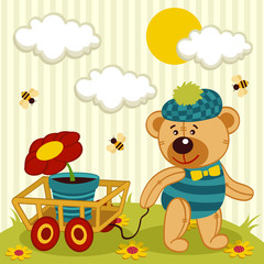 bear with a flower in a pot - vector illustration