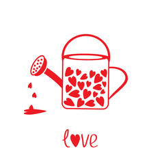 Love watering can with hearts inside. Vector illustration. Card