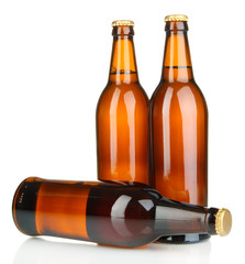 Beer bottles isolated on white