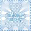 Teddy Bear Baby Boy, pastel blue polka dots, rick rack frame